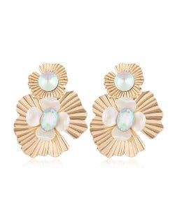 Resin Gem Inlaid Golden Flowers Design Alloy Women Costume Earrings - Luminous Colorful