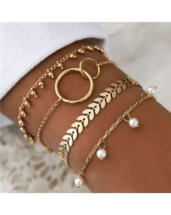 Leaves Pearl and Beads 4 pcs Golden Fashion Bracelets Set