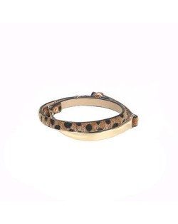 Leopard Prints Leather and Alloy Mix Design High Fashion Women Bracelet