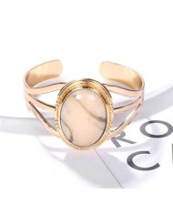 Resin Gem Inlaid Open-end Golden Fashion Women Alloy Bangle