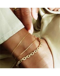 Slim Fashion Triple Golden Chains Combo Design Women Anklets