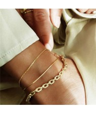 Slim Fashion Triple Golden Chains Combo Design Women Anklets