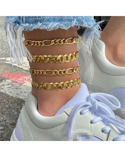 High Fashion Golden Linked Chains Combo 4 pcs Women Anklet Set