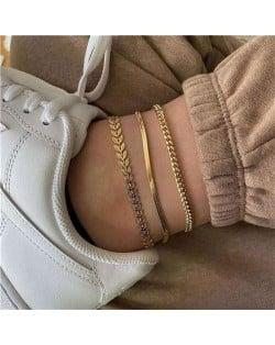 Golden Leaves 3 pcs Combo High Fashion Women Anklet Set