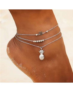 Pineapple Star and Beads Combo 3 pcs Beach Fashion Alloy Women Anklet Set - Silver