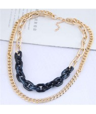 Dual Layers Golden Chain Bold Fashion Women Statement Necklace - Black