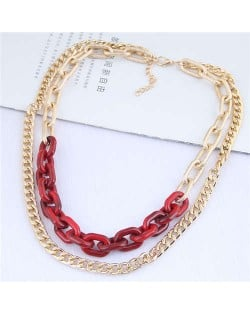 Dual Layers Golden Chain Bold Fashion Women Statement Necklace - Red