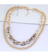 Dual Layers Golden Chain Bold Fashion Women Statement Necklace - Khaki