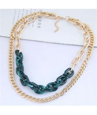 Dual Layers Golden Chain Bold Fashion Women Statement Necklace - Green