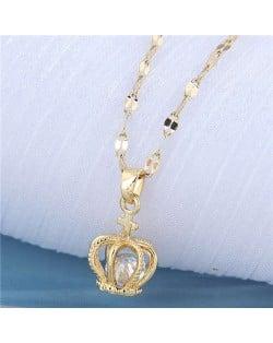 Cubic Zirconia Inlaid Crown Pendant Design Korean Fashion Women Costume Necklace - Golden