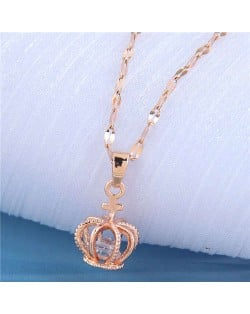 Cubic Zirconia Inlaid Crown Pendant Design Korean Fashion Women Costume Necklace - Rose Gold