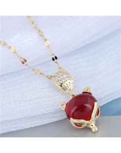Red Corundum Fox Pendant Golden Chain Korean Fashion Women Costume Necklace - Golden