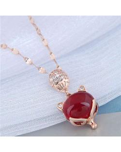 Red Corundum Fox Pendant Golden Chain Korean Fashion Women Costume Necklace - Rose Gold