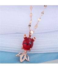 Red Corundum Golden Fish Pendant Korean Fashion Women Costume Necklace