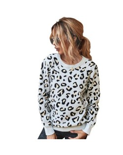 Unique Style Leopard Prints Long Sleeves Autumn and Winter Fashion Women Top - White