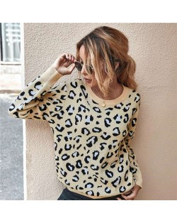 Unique Style Leopard Prints Long Sleeves Autumn and Winter Fashion Women Top - Apricot