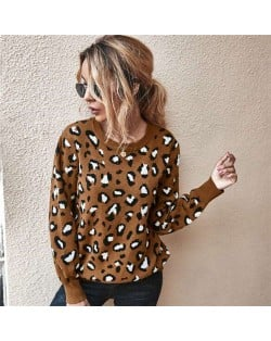 Unique Style Leopard Prints Long Sleeves Autumn and Winter Fashion Women Top - Brown