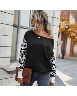 Contast Colors Leopard Prints Long Sleeves Autumn and Winter Fashion Women Top - Black