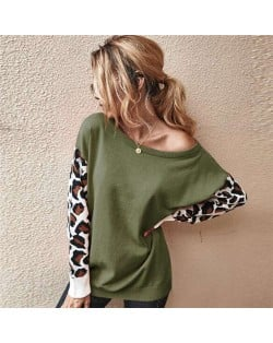Contast Colors Leopard Prints Long Sleeves Autumn and Winter Fashion Women Top - Army Green