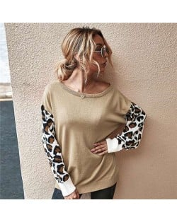 Contast Colors Leopard Prints Long Sleeves Autumn and Winter Fashion Women Top - Apricot