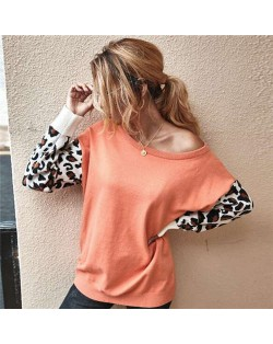Contast Colors Leopard Prints Long Sleeves Autumn and Winter Fashion Women Top - Orange