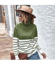 Stripes Design Contast Colors Long Sleeves Autumn and Winter Fashion Women Top - Army Green