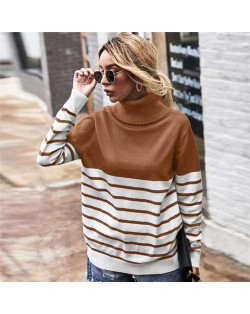 Stripes Design Contast Colors Long Sleeves Autumn and Winter Fashion Women Top - Brown
