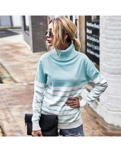 Stripes Design Contast Colors Long Sleeves Autumn and Winter Fashion Women Top - Sky Blue