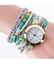 5 Colors Available Rhinestone Embellished High Fashion Women PU Winding Women Bracelet Watch