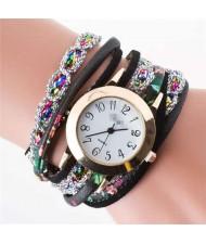 5 Colors Available Rhinestone Embellished High Fashion Women PU Winding Women Bracelet Watch