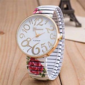 Exaggerating Arabic Numerals Fashion Floral Elastic Design Women Wrist Watch - White