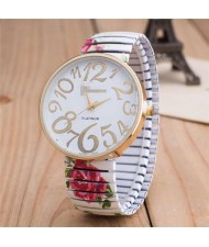 Exaggerating Arabic Numerals Fashion Floral Elastic Design Women Wrist Watch - White