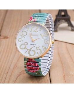 Exaggerating Arabic Numerals Fashion Floral Elastic Design Women Wrist Watch - Green