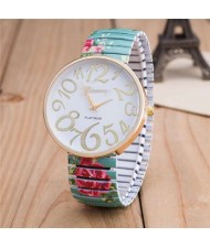 Exaggerating Arabic Numerals Fashion Floral Elastic Design Women Wrist Watch - Green