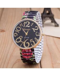 Exaggerating Arabic Numerals Fashion Floral Elastic Design Women Wrist Watch - Black