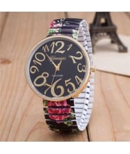 Exaggerating Arabic Numerals Fashion Floral Elastic Design Women Wrist Watch - Black