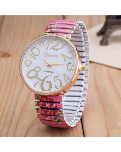 Exaggerating Arabic Numerals Fashion Floral Elastic Design Women Wrist Watch - Rose