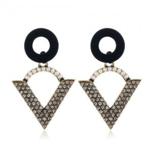 Vintage Style Unique Hollow Triangle Design Rhinestone and Pearl Fashion Women Stud Earrings