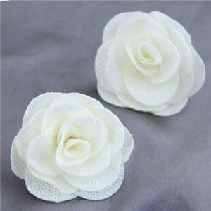 Pasterol Style Cloth Rose Design Women Fashion Earrings - White