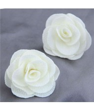Pasterol Style Cloth Rose Design Women Fashion Earrings - White