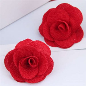 Pasterol Style Cloth Rose Design Women Fashion Earrings - Red