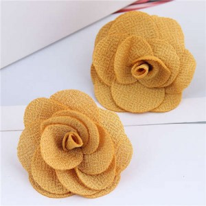 Pasterol Style Cloth Rose Design Women Fashion Earrings - Yellow