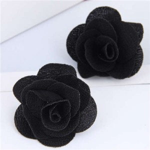 Pasterol Style Cloth Rose Design Women Fashion Earrings - Black