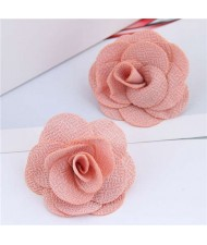 Pasterol Style Cloth Rose Design Women Fashion Earrings - Pink