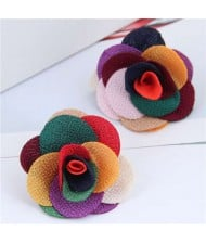 Pasterol Style Cloth Rose Design Women Fashion Earrings - Multicolor
