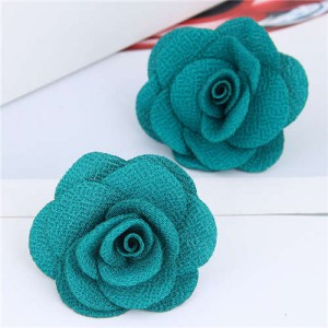 Pasterol Style Cloth Rose Design Women Fashion Earrings - Teal
