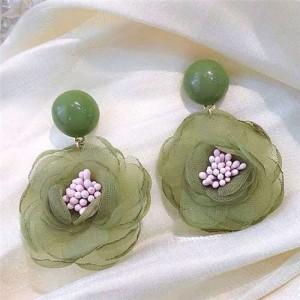 Vintage Korean Fashion Chiffon Flower Design Women Costume Earrings - Green