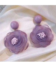Vintage Korean Fashion Chiffon Flower Design Women Costume Earrings - Violet