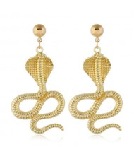 Golden Cobra Design High Fashion Women Alloy Costume Earrings