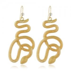 Lucky Symbol Golden Snake Design High Fashion Women Alloy Earrings